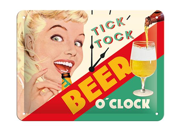 Retro metallposter Tick Tock Beer O'Clock 15x20 cm SG-195074