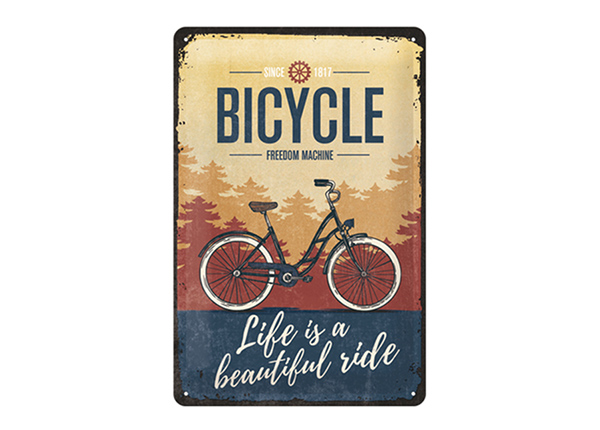 Retro metallposter Bicycle Life is a beautiful ride 20x30 cm SG-195089