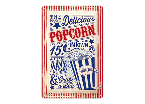 Металлический постер в ретро-стиле Popcorn 20x30 см SG-195123