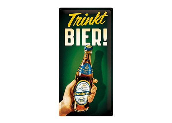 Retro metallijuliste Trinkt Bier! 25x50 cm SG-195188