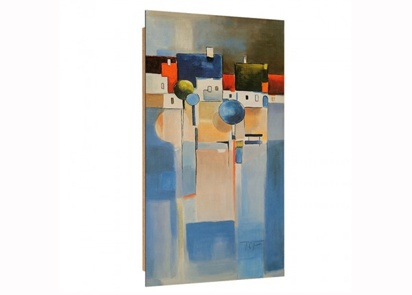 Seinätaulu A city over a blue field 3 D 50x100 cm