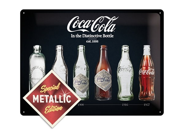 Retro metallposter Coca-Cola In the Distinctive Bottle Metallic 30x40 cm SG-195246