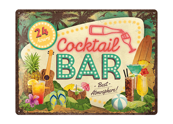 Retro metallposter Cocktail Bar 30x40 cm SG-195248