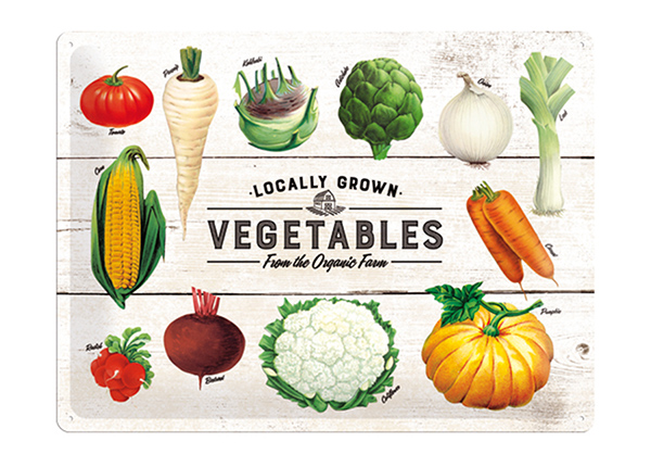 Retro metallposter Locally Grown Vegetables 30x40 cm SG-195272