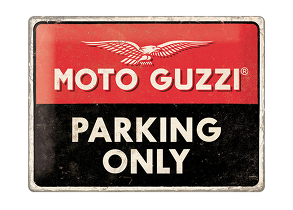 Retro metallposter Moto Guzzi Parking Only 30x40 cm