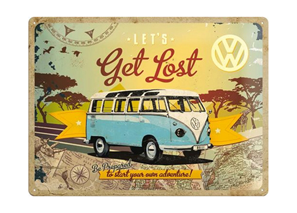 Retro metallposter VW Let's get lost 30x40 cm