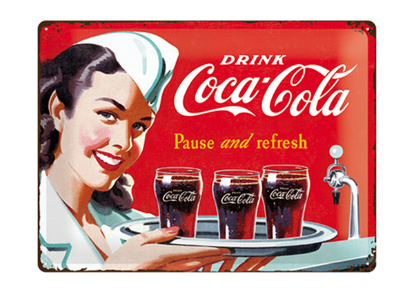 Retro metallposter Coca-Cola Pause and refresh 30x40 cm SG-195339