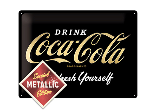 Retro metallposter Coca-Cola Refresh Yourself Metallic 30x40 cm SG-195345