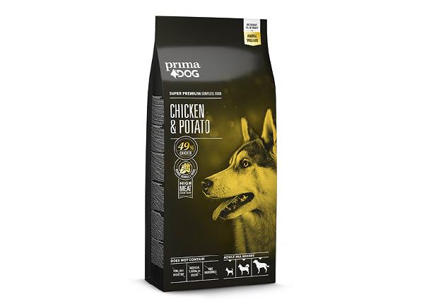 PrimaDog koiranruoka aikuisille koirille kana-peruna 12 kg