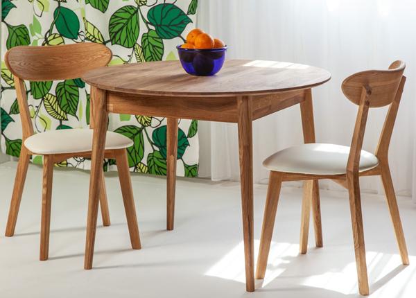 Tammepuust söögilaud Scan Ø85 cm+ 2 tooli Irma