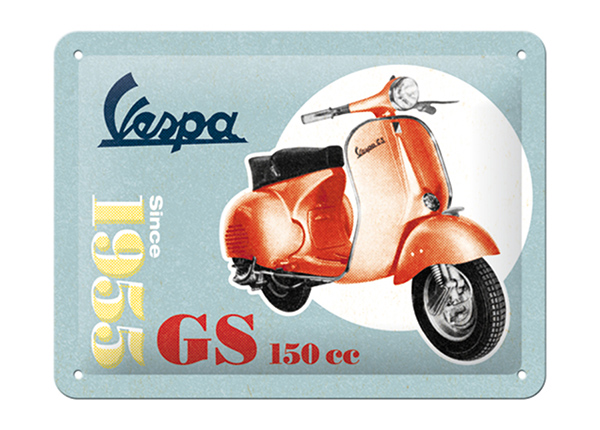 Металлический постер в ретро-стиле Vespa GS 150 Since 1955 15x20 см SG-196801