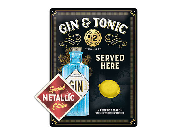 Retro metallposter Gin Tonic Served Here Metallic 30x40 cm SG-196815