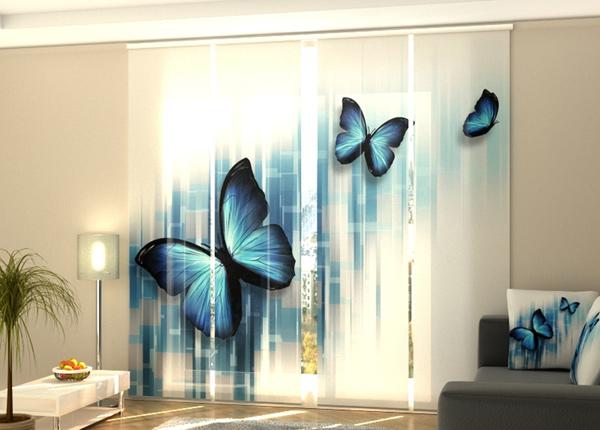 Puolipimentävä paneeliverho Blue butterflies 240x240 cm