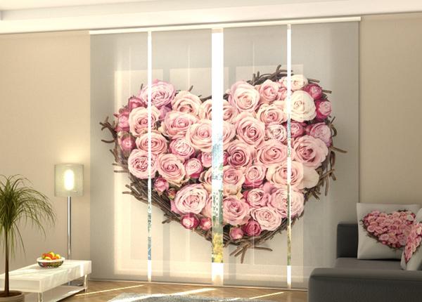 Puolipimentävä paneeliverho Heart of Love 240x240 cm