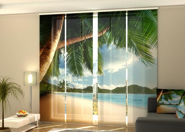 Puolipimentävä paneeliverho Ocean and palms 240x240 cm