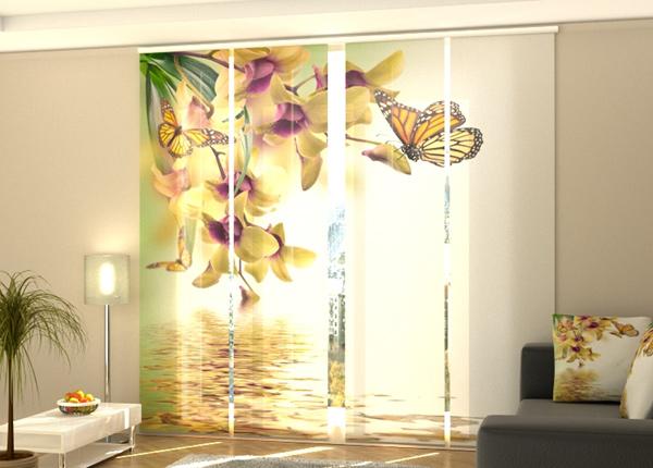 Puolipimentävä paneeliverho Tropical Flowers 240x240 cm