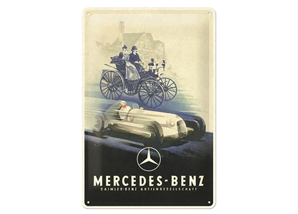 Retro metallposter Mercedes Benz - Silver Arrow Historic 20x30 cm