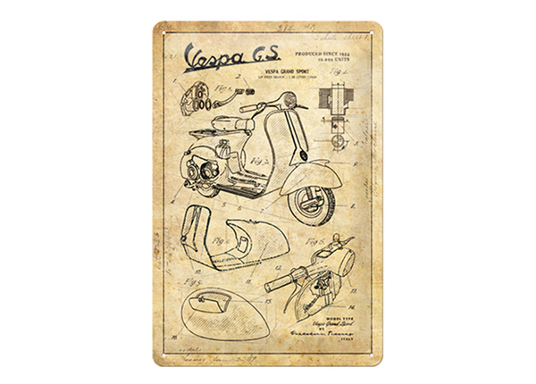 Retro metallposter Vespa - Parts Sketches 20x30 cm SG-218323