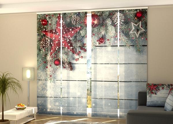 Puolipimentävä paneeliverho Christmas Red Star 240x240 cm
