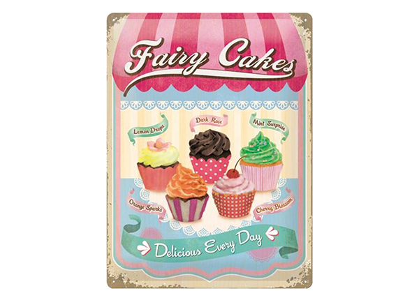 Retro metallposter Fairy Cakes Delicious Every Day 30x40 cm SG-218433