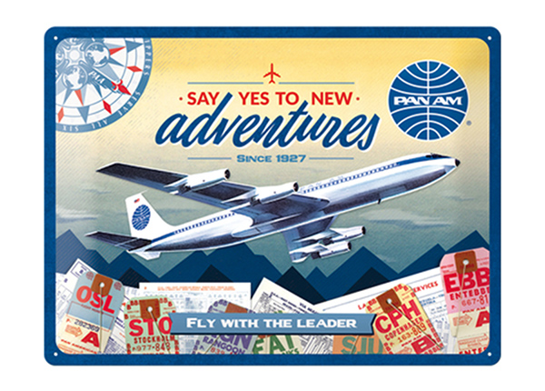 Retro metallposter Pan Am - New Adventures 30x40 cm