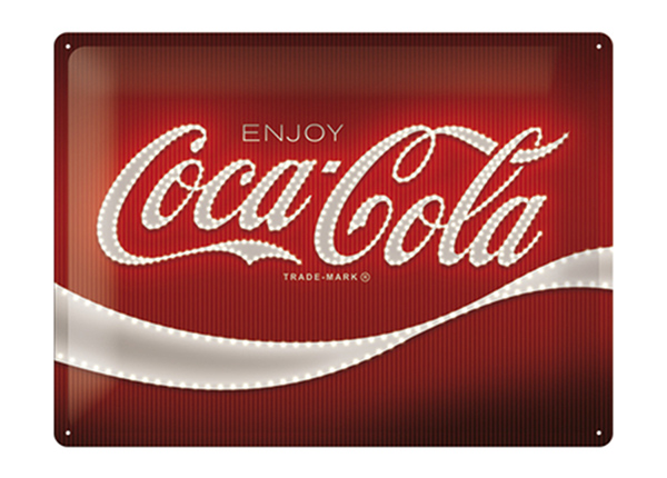 Retro metallposter Coca-Cola - Logo Red Lights 30x40 cm SG-218449