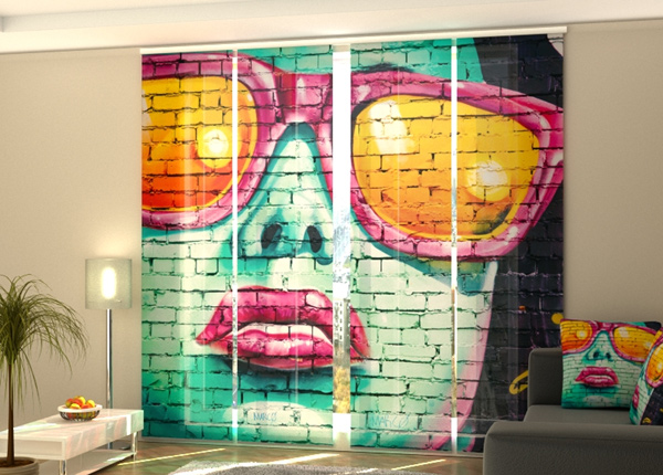 Poolpimendav paneelkardin Graffiti in Birmingham 240x240 cm ED-218564
