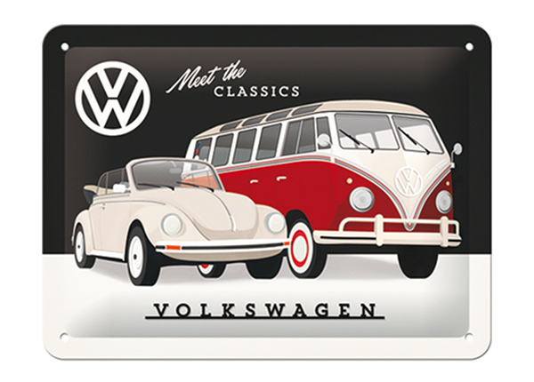 Retro metallposter VW - Meet the Classic 15x20 cm