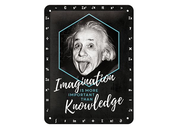 Retro metallposter Einstein - Imagination & Knowledge 15x20 cm SG-220213