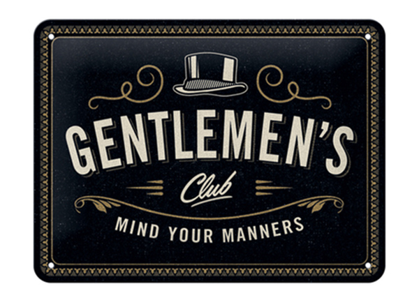 Retro metallposter Gentlemen's Club 15x20 cm