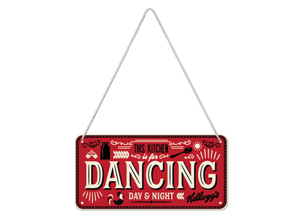 Retro metallposter Kellogg's - This Kitchen is for Dancing 10x20 cm