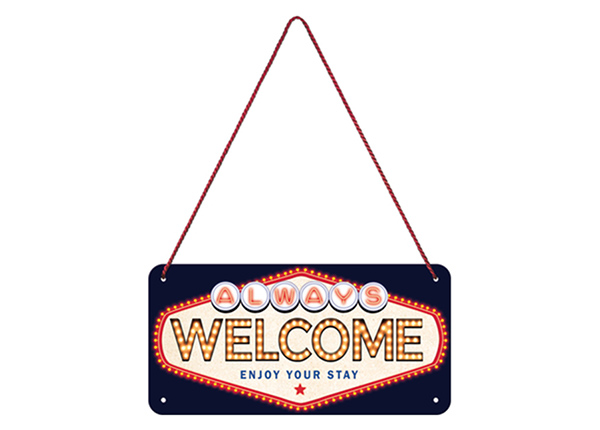 Retro metallposter Welcome 10x20 cm