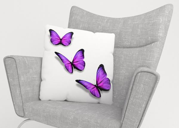 Koristetyynyliina Purple Butterfly