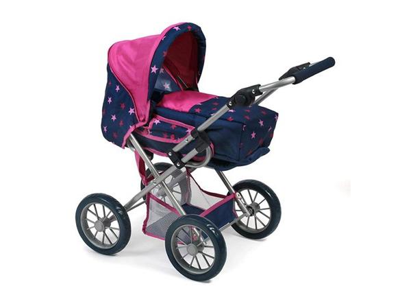 Кукольная коляска LENI с розовыми звездочками