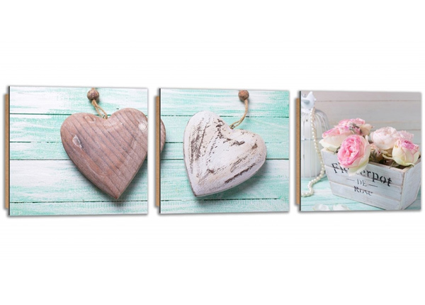 Картина из 3-частей Wooden hearts