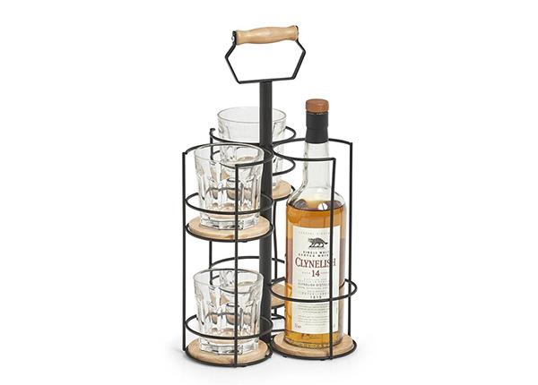 Tarjoilualusta pullolle ja 4 lasille