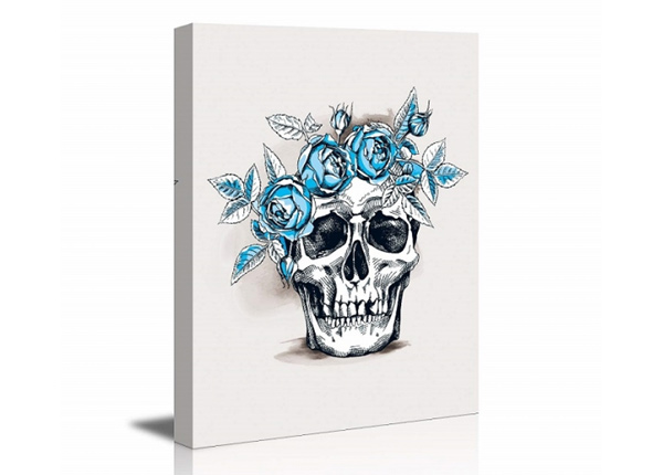 Seinätaulu Skull with roses 80x60 cm ED-227909