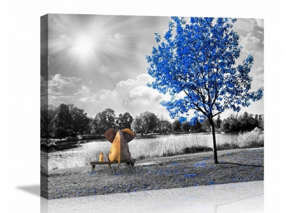 Seinätaulu Elephant blue tree 60x80 cm ED-227927