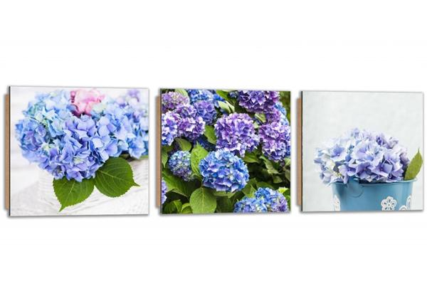 Kolmeosainen seinätaulu Blue Hydrangeas
