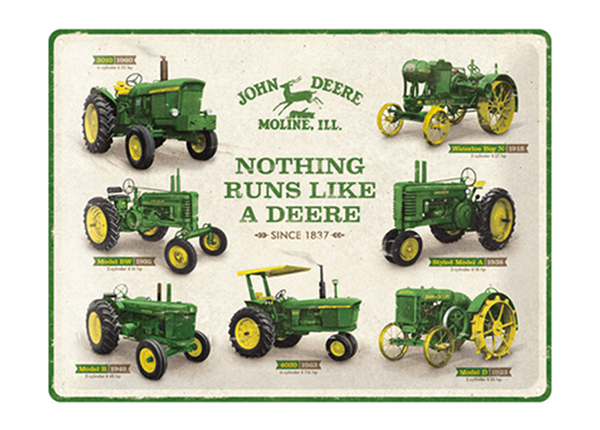 Retro metallposter John Deere - Nothing runs like a deere 30x40 cm SG-234969