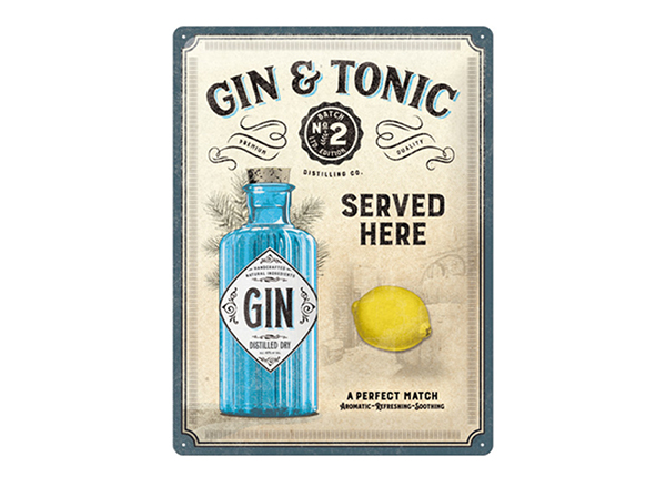 Retro metallposter Gin & Tonic Served Here 30x40 cm SG-234976