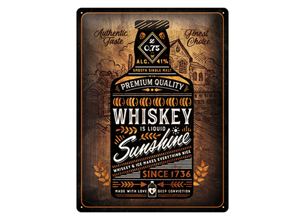 Retro metallposter Whiskey Sunshine 30x40 cm SG-234980