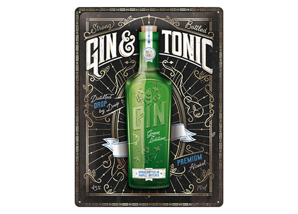 Retro metallposter Gin & Tonic Green Edition 30x40 cm SG-234991