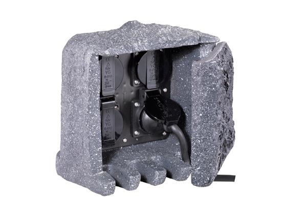 Садовый удлинитель Камень на 4 розетки
