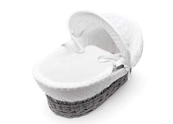 Kehto Valkoinen minky harmaalla korikopalla