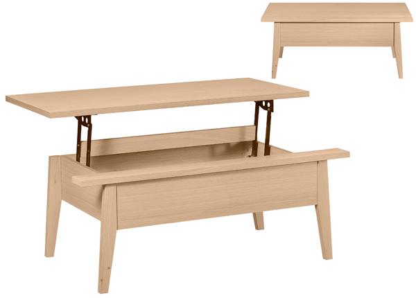 Sohvapöytä ylösnostettavalla kansilevyllä 110x60 cm