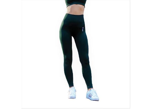 Naisten pitkät treenileggingsit Boco Wear Bottle Green Cropped