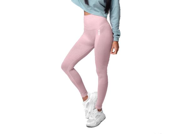 Naisten pitkät treenileggingsit Boco Wear Coral Cloud Melange Shape Push Up