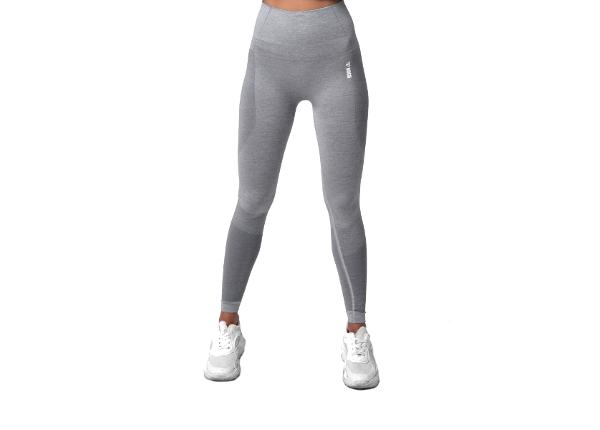 Naisten pitkät treenileggingsit Boco Wear Sparkle Grey Melange Shape Push Up
