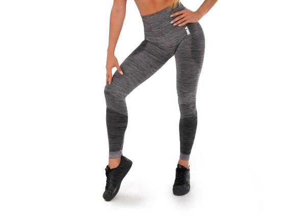 Naisten pitkät treenileggingsit Boco Wear Grey Melange Push Up